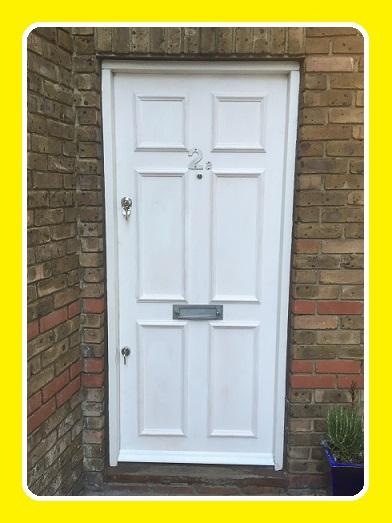 A solid core edged and false panelled door finished can be used for Front Doors and apartment Doors. & Our Door Fitting Service